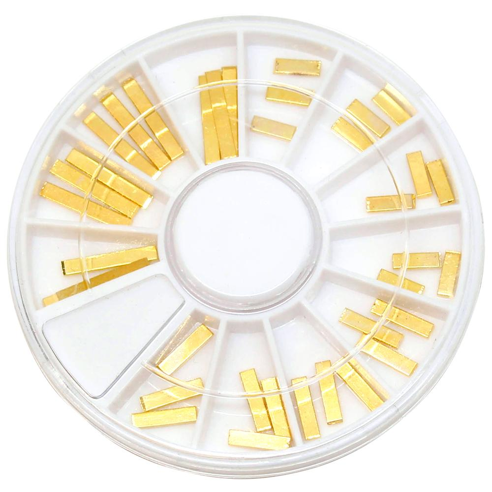 Metallic Long Rectangle Bar Wheel / Gold Nail Art Decorations