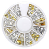 Mixed Metal Studs Wheel / Gold & Silver round rectangle square heart stars diamond