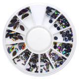 Mixed Resin Rhinestone Wheel / Black Rainbow for Nail Oil Spill Art