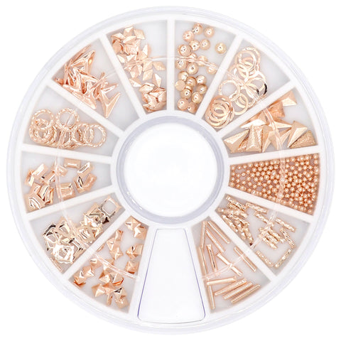 Rose Gold Nail Art Studs Wheel / 12 Decors Caviar Beads Metallic