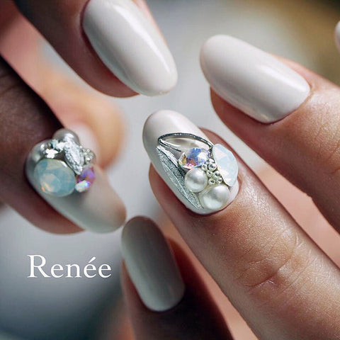 Bonnail x RieNofuji Loop Leaf / Silver Japanese Nail Art Decor Frames
