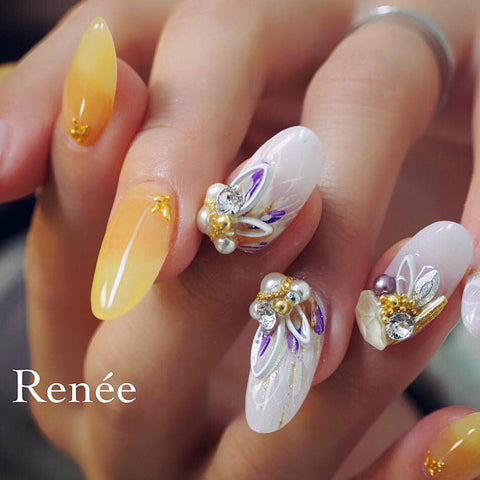 Bonnail x RieNofuji Loop Leaf / White Japanese Nail Art Decor Frame Studs Metal