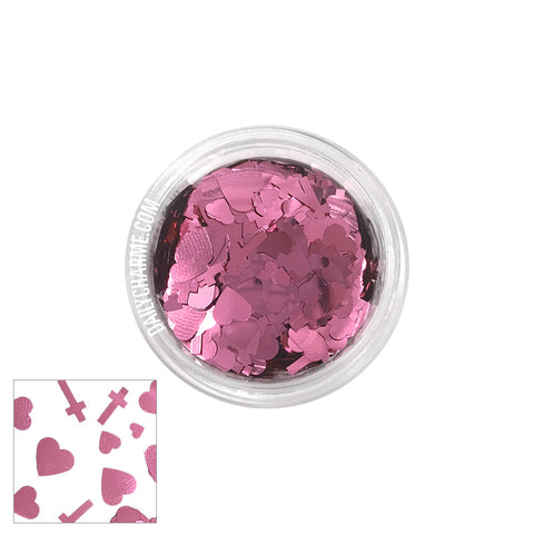 Shangly Japanese Heart & Cross Glitter / Light Pink