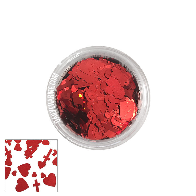 Shangly Japanese Heart & Cross Glitter / Red
