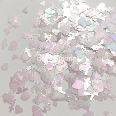Shangly Japanese Heart & Cross Glitter / White Aurora