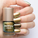 Moyou London / Stamping Nail Lacquer /  Purple Haze - Color Shifting Chameleon Green Blue Gold Stamping Polish