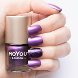 Moyou London / Stamping Nail Lacquer /  Purple Haze - Color Shifting Chameleon Purple Gold Stamping Polish