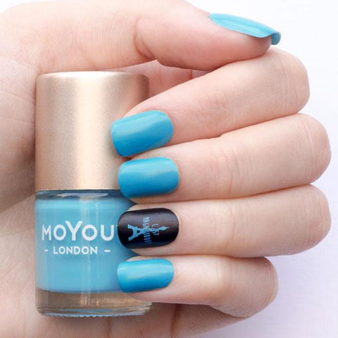 Moyou London / Stamping Nail Lacquer / Cool Pool - Blue Stamping Polish