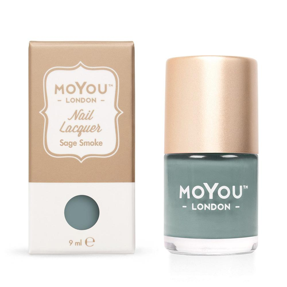 Moyou London / Stamping Nail Lacquer / Sage Smoke - Green Mint Olive Stamping Polish