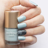 Moyou London / Stamping Nail Lacquer / Dusty Cloud - Green Mint Olive Stamping Polish