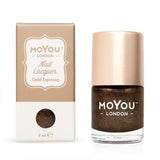 Moyou London / Stamping Nail Lacquer / Gold Espresso - Brown Copper Gold Stamping Polish