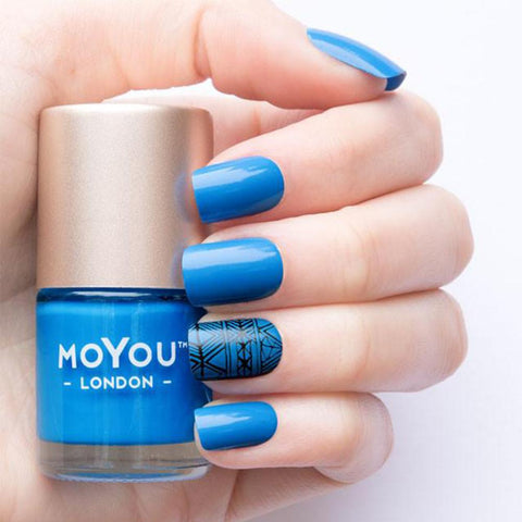 Moyou London / Stamping Nail Lacquer / Electric Sky - Blue Stamping Polish