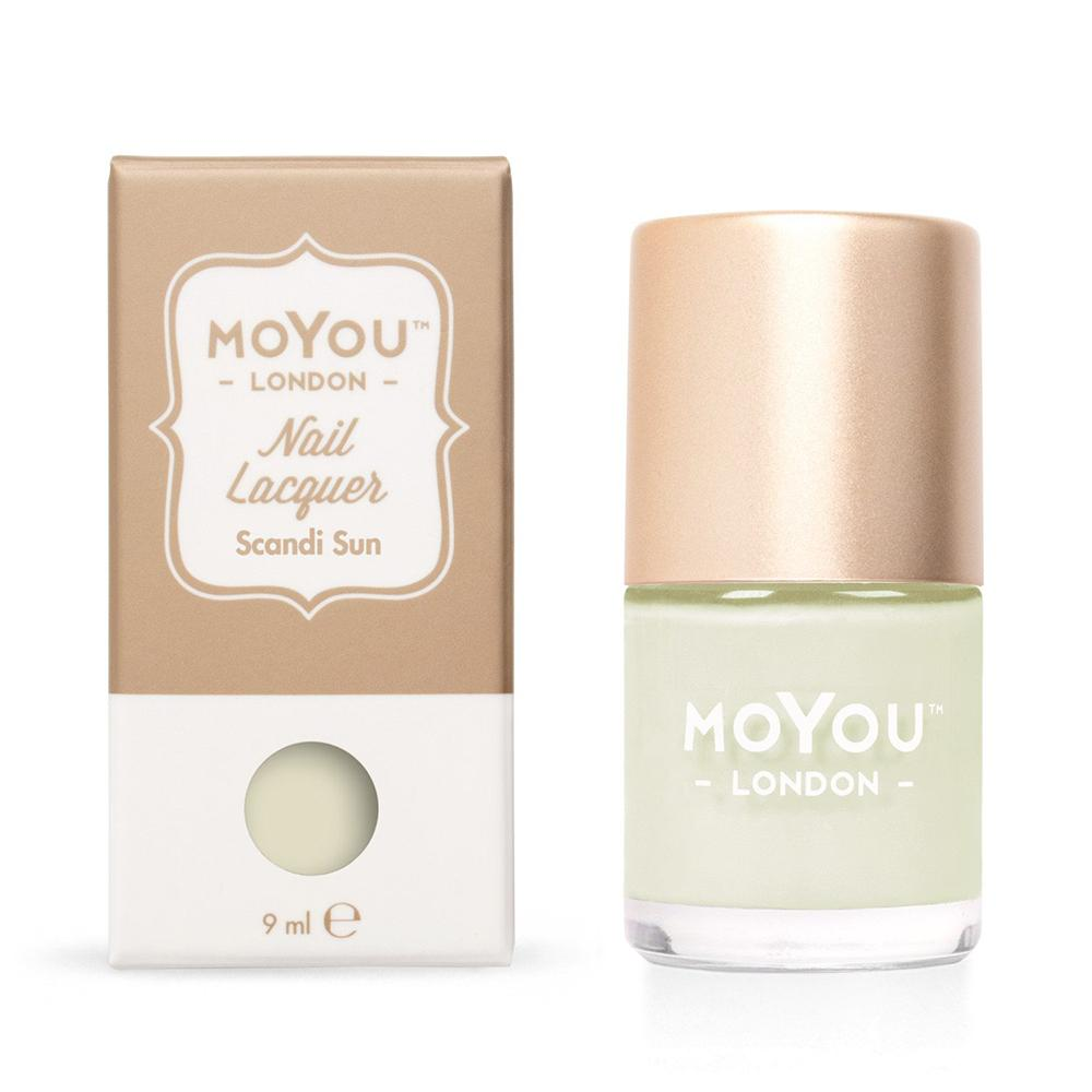 Moyou London / Stamping Nail Lacquer / Scandi Sun - Light Mint Green Stamping Polish
