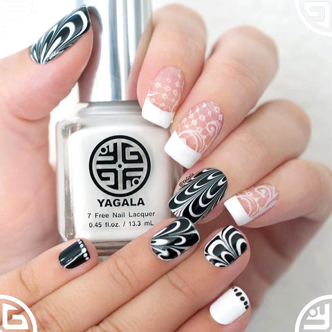 YaGala Nail Polish Lacquer #014 Pure White 7-Free Swatch Stamping Water Marble Nails Mother Daughter