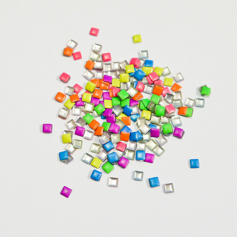 Nail Art Decoration - Neon Rainbow 3mm Square Studs