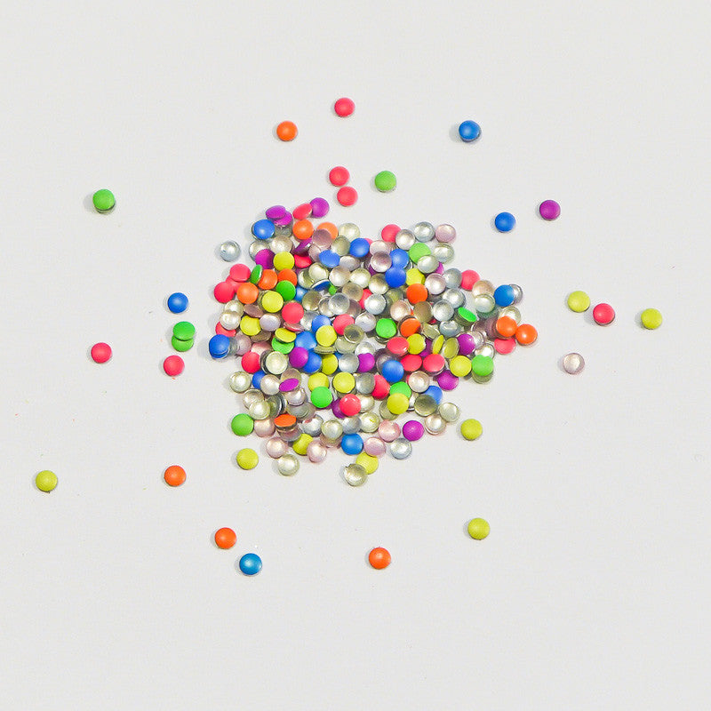 Nail Art Decoration - Neon Rainbow 2mm Round Studs