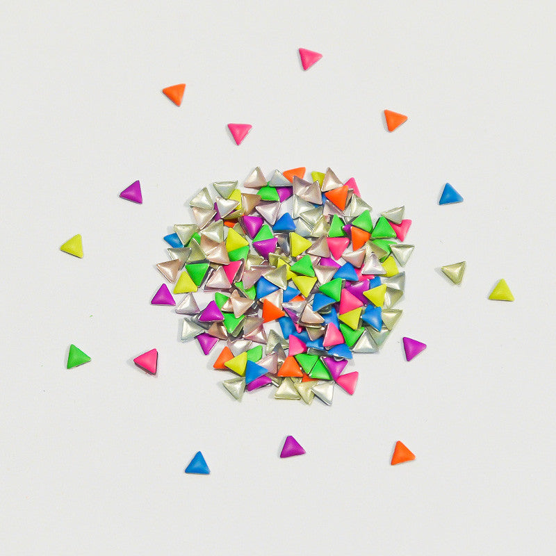Nail Art Decoration - Neon Rainbow 3mm Triangle Studs