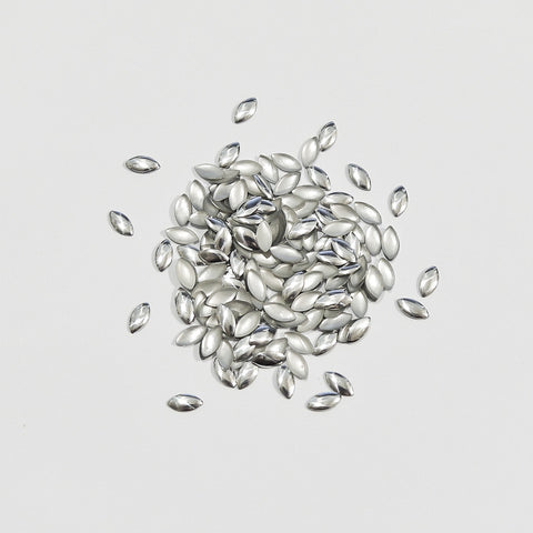 Nail Art Decoration - Marquise 3mm x 6mm Stud / Silver