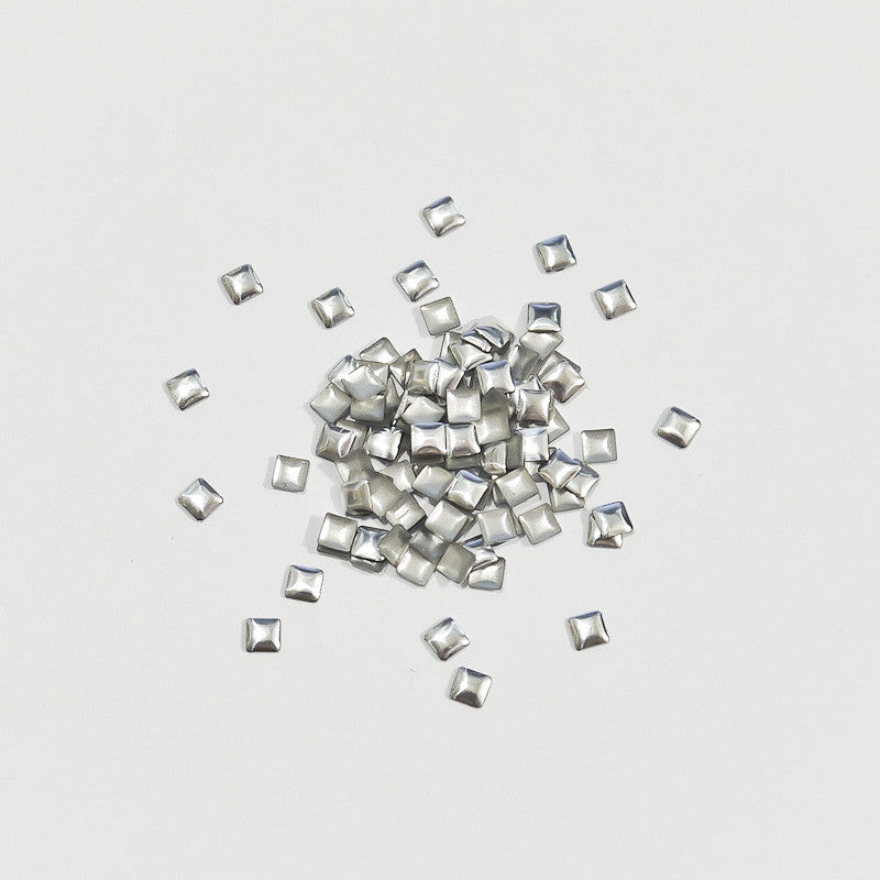 Nail Art Decoration - Square 3mm Stud / Silver