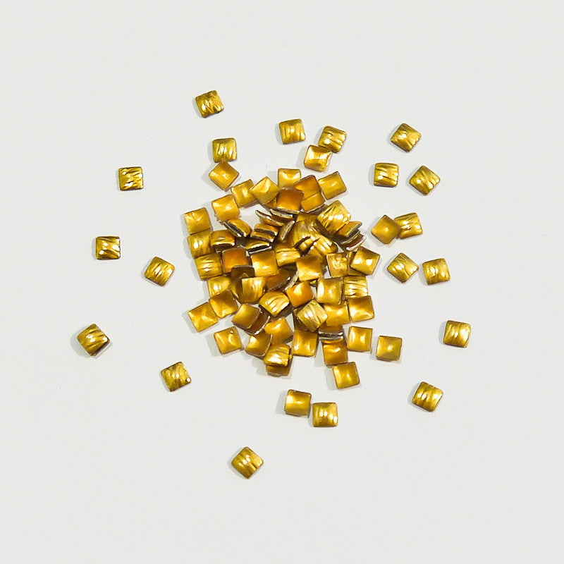 Nail Art Decoration - Carved Square 3mm Stud / Gold