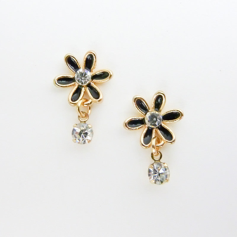 Nail Art Decoration - Daisy with Hanging Rhinestone / Black