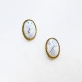 Nail Art Decoration - Oval Turkey Stone & Gold Frame / White