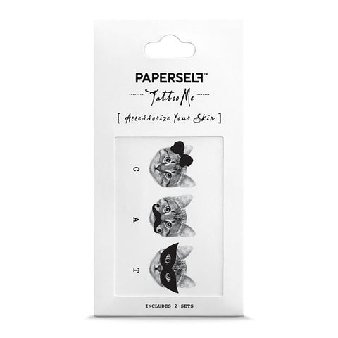 3 of a kind - Cats Fashion Makeup by PAPERSELF Temporary Tattoo