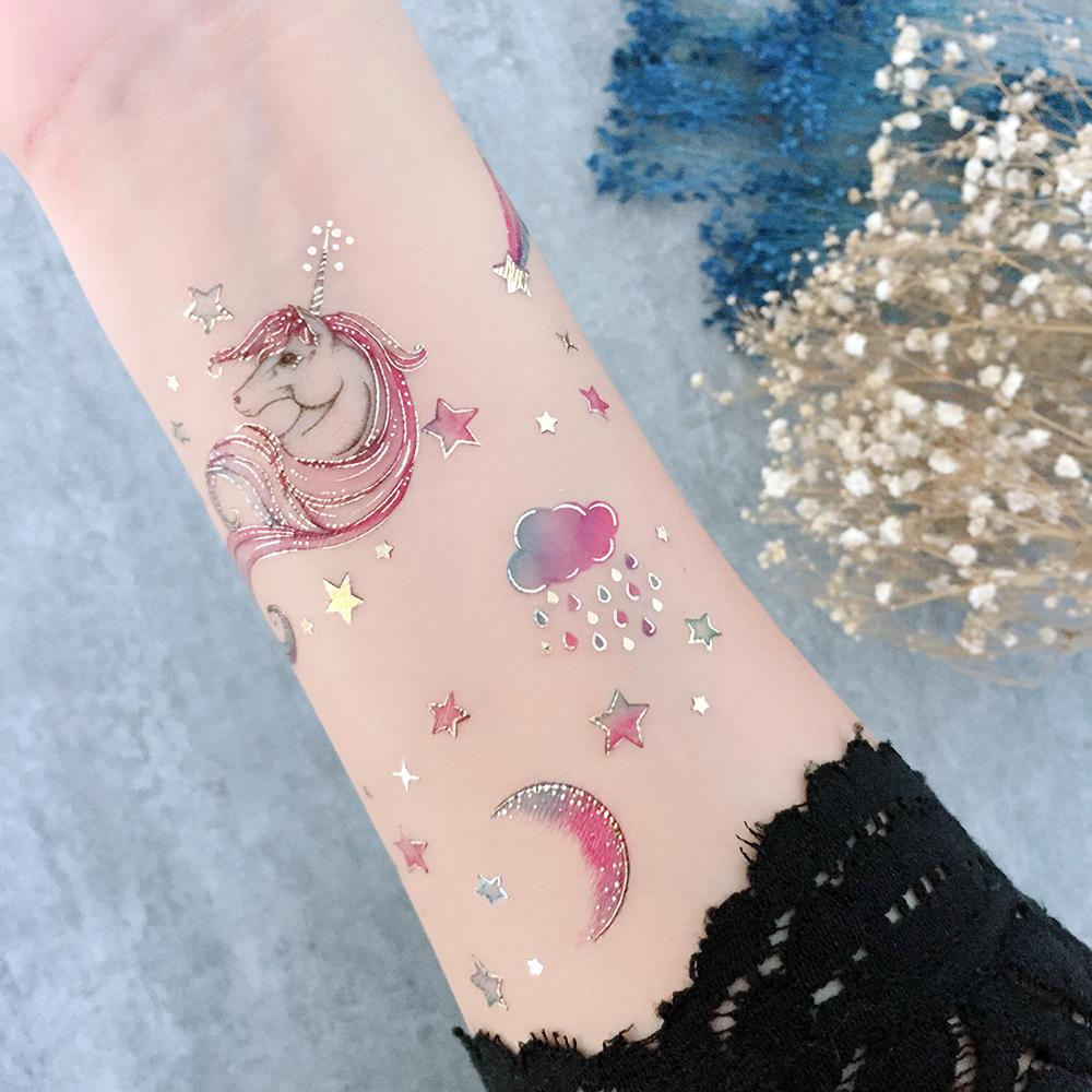 Unicorn Rainbow Body Makeup by PAPERSELF Temporary Tattoo