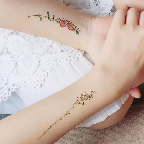 Vintage Flowers Body Makeup by PAPERSELF Temporary Tattoo