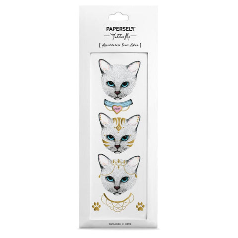 Meow Cat Fashion Instagram Style by PAPERSELF Temporary Tattoo