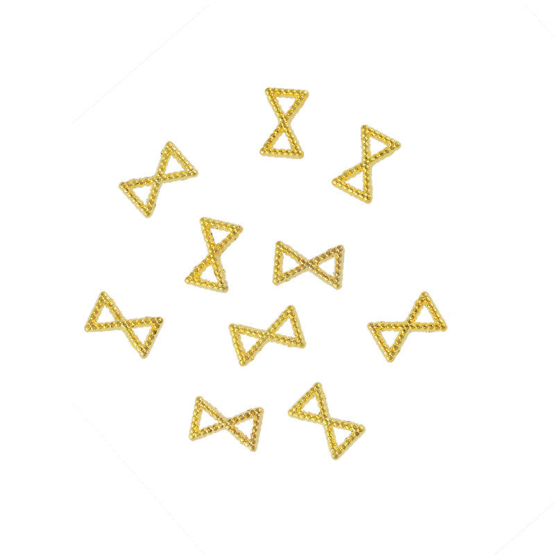 Nail Art Supply - Beaded 6mm Bow Frame / Gold