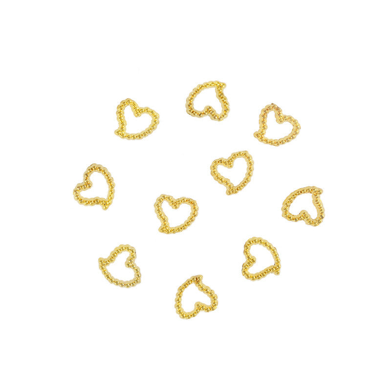 Nail Art Supply - Beaded 5mm Heart Frame / Gold