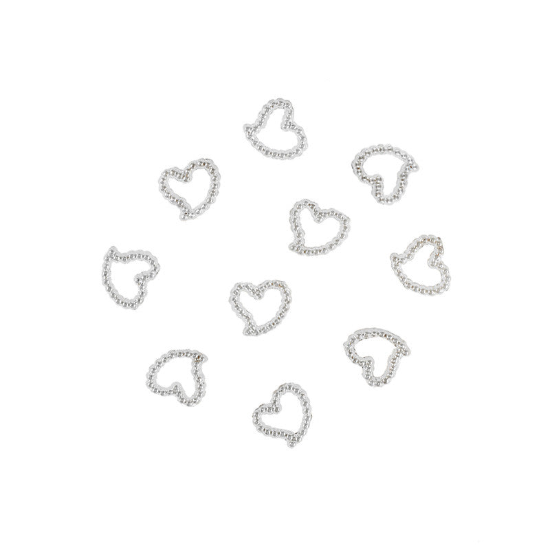Nail Art Supply - Beaded 5mm Heart Frame / Silver
