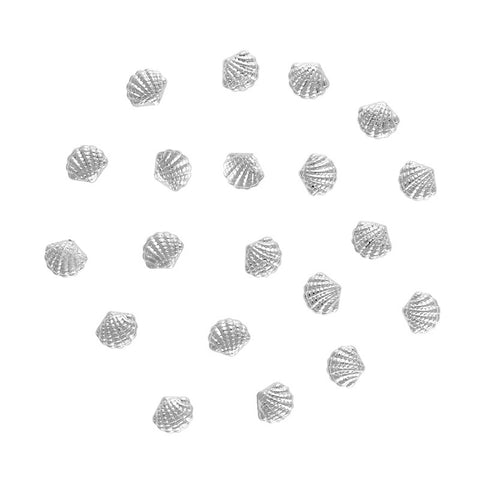 Scallop Seashell Studs / Silver Nail Art Decorations 3D
