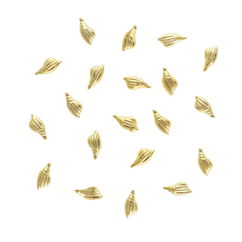 Triton Seashell Studs / Gold Nail Art Decorations 3D Studs
