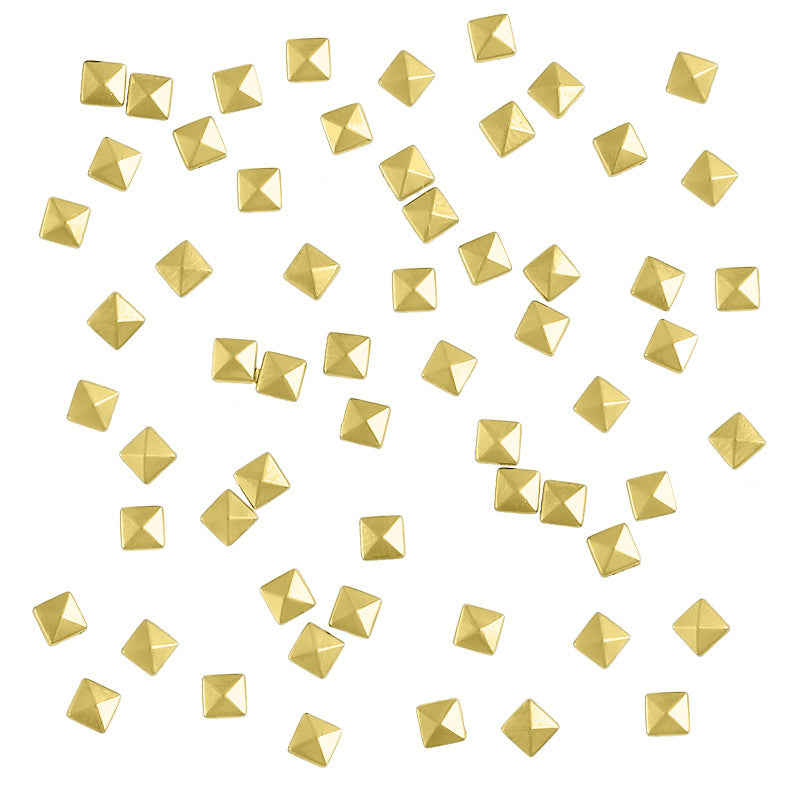 Square Pyramid 3mm Stud / Gold Nail Art Studs