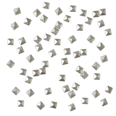 Square Pyramid 3mm Stud / Silver Nail Art Studs