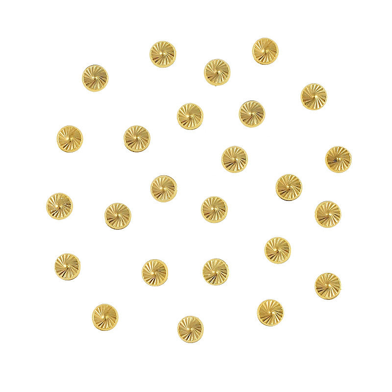 Round Swirly Pattern Carved Studs 3mm / Gold