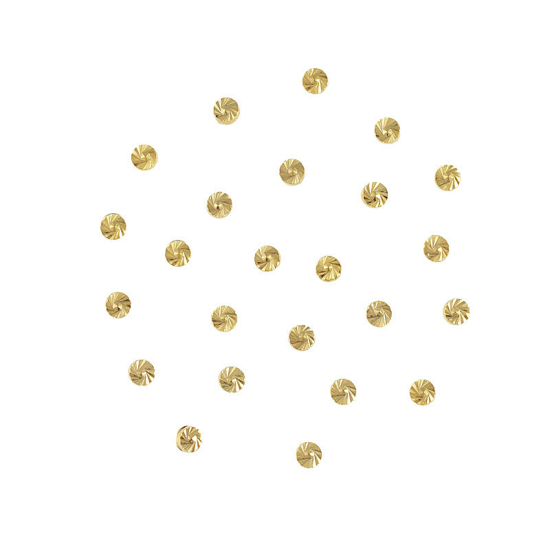Round Swirly Pattern Carved Studs 2mm / Gold