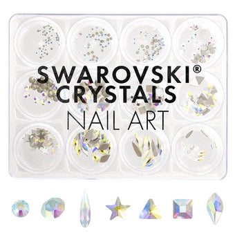 Swarovski Crystals Nail Art Box Set / Crystal AB / 12 Jars