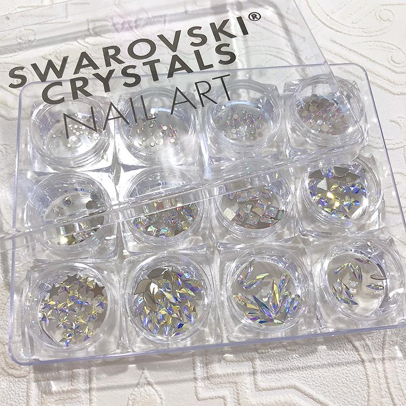 Swarovski Crystals Nail Art Box Set Crystal Ab 12 Jars