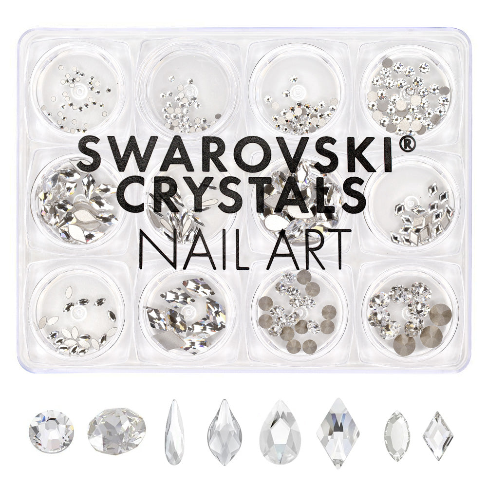 Swarovski Crystals Nail Art Box Set / Clear / 12 Jars Round Raindrop Rhombus Bundle