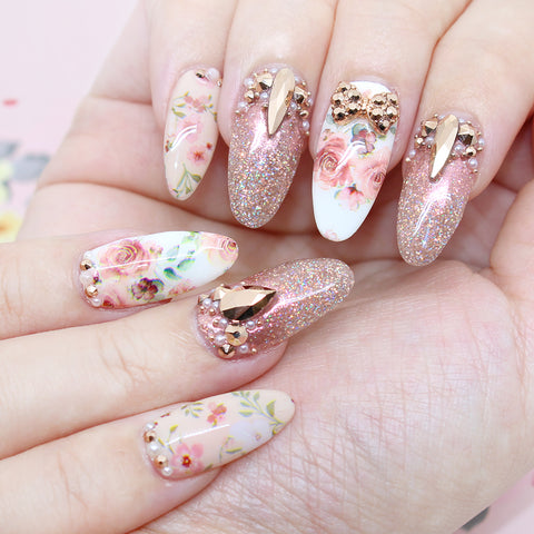 Swarovski Rose Gold Crystal Nail Art Design Floral Wedding Nails