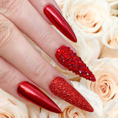 Swarovski Round Flatback Rhinestone / Light Siam Red Nails