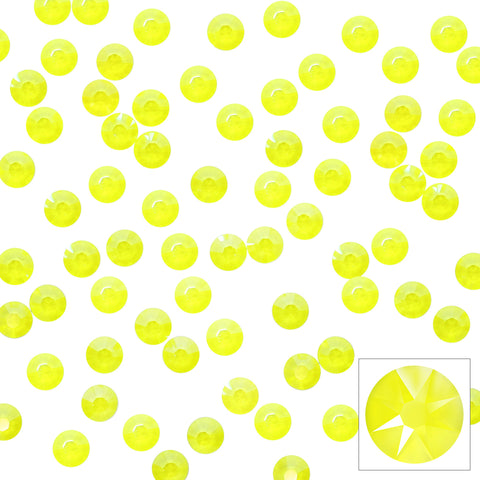 Swarovski Round Flatback Rhinestone / Electric Yellow Crystals for Nail Art