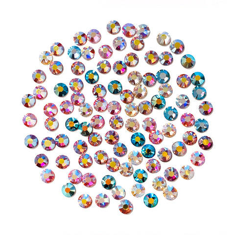 Swarovski SS 12 Round Flatback Crystal Value Mix / AB Rainbow for Nail Art