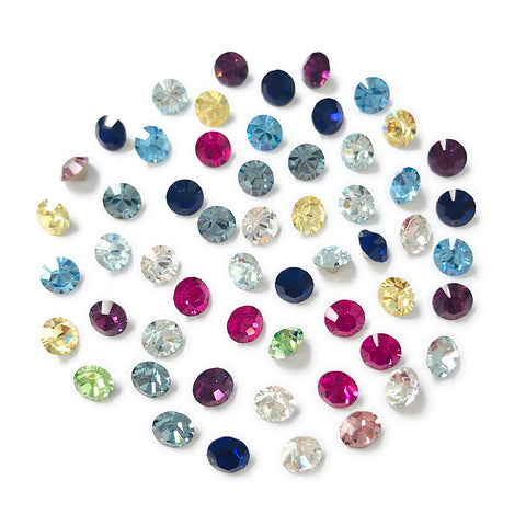 Swarovski Chaton Pointed Back Rhinestone Value Mix / PP32 / 4MM for Nail Art 3D Crystal Cluster