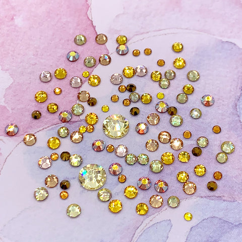 Swarovski Yellow Round Flatback Crystal Value Mix Nail Art Gold AB