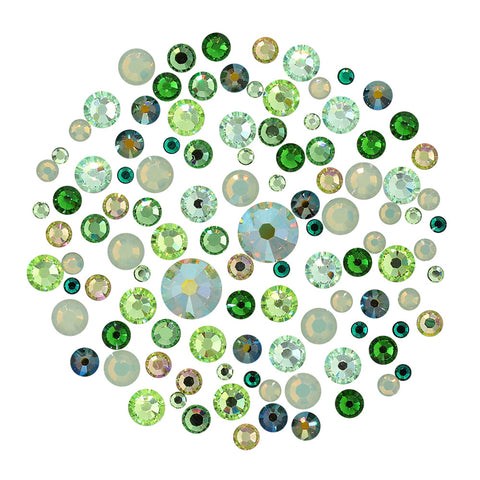 Swarovski Green Round Flatback Crystal Value Mix Nail Art Rhinestone