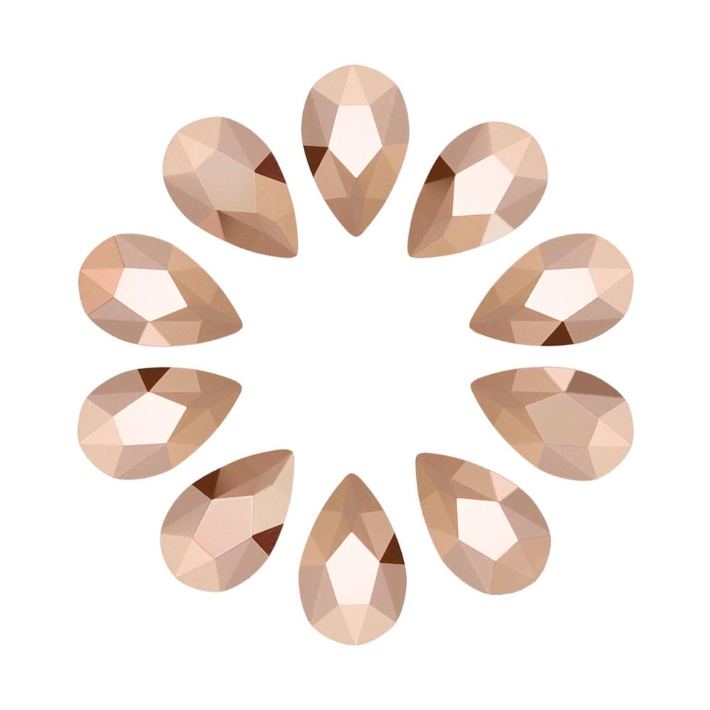 Nail Art Swarovski Pear Shape Flatback Rhinestone / Rose Gold Special Production